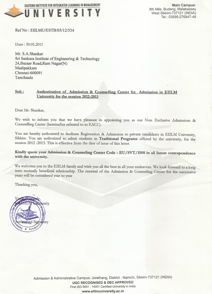 AUTHORIZATION OF ADMISSION Autho The Directorate Of Distance Education